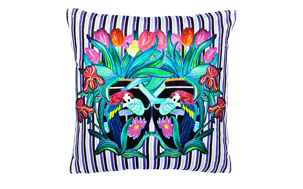 Parrot Stripe Chic Violet Velvet Cushion