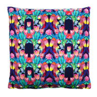 Parrot Tulip Indigo Cotton Satin Cushion