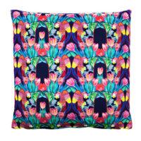 Parrot Tulip Indigo Cotton Satin Cushion