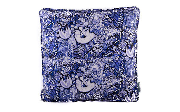 Poppy Blue & White Cushion