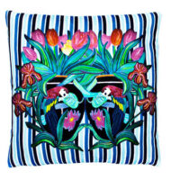 Parrot Stripe Chic Blue Velvet Cushion