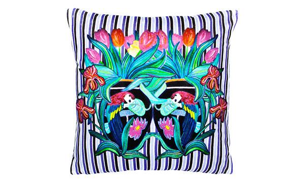 Parrot Stripe Chic Violet Velvet Cushion