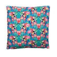 Parrot Tulip Jade Linen Cushion