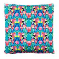 Parrot Tulip Jade Cotton Satin Cushion