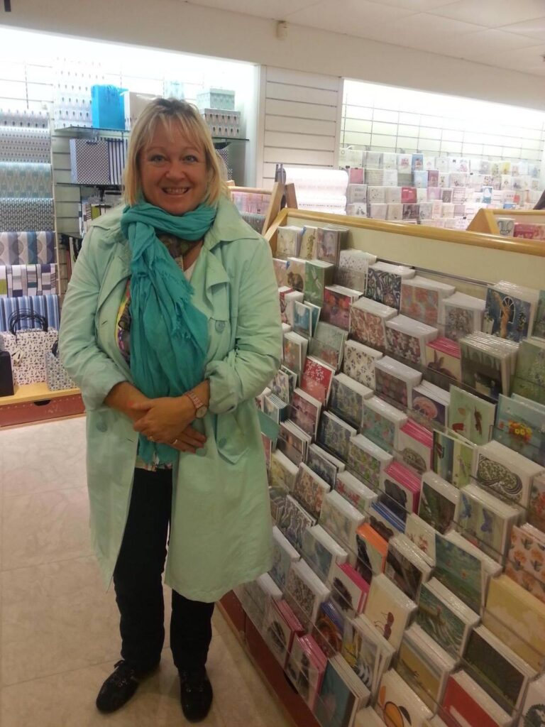 Lisa and her greeting card products